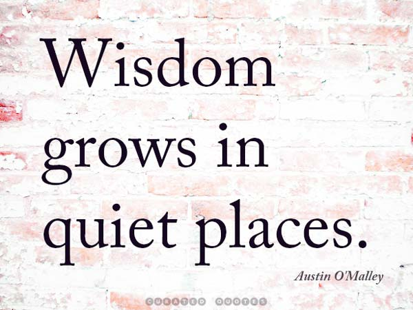Wisdom Grows Quiet Places